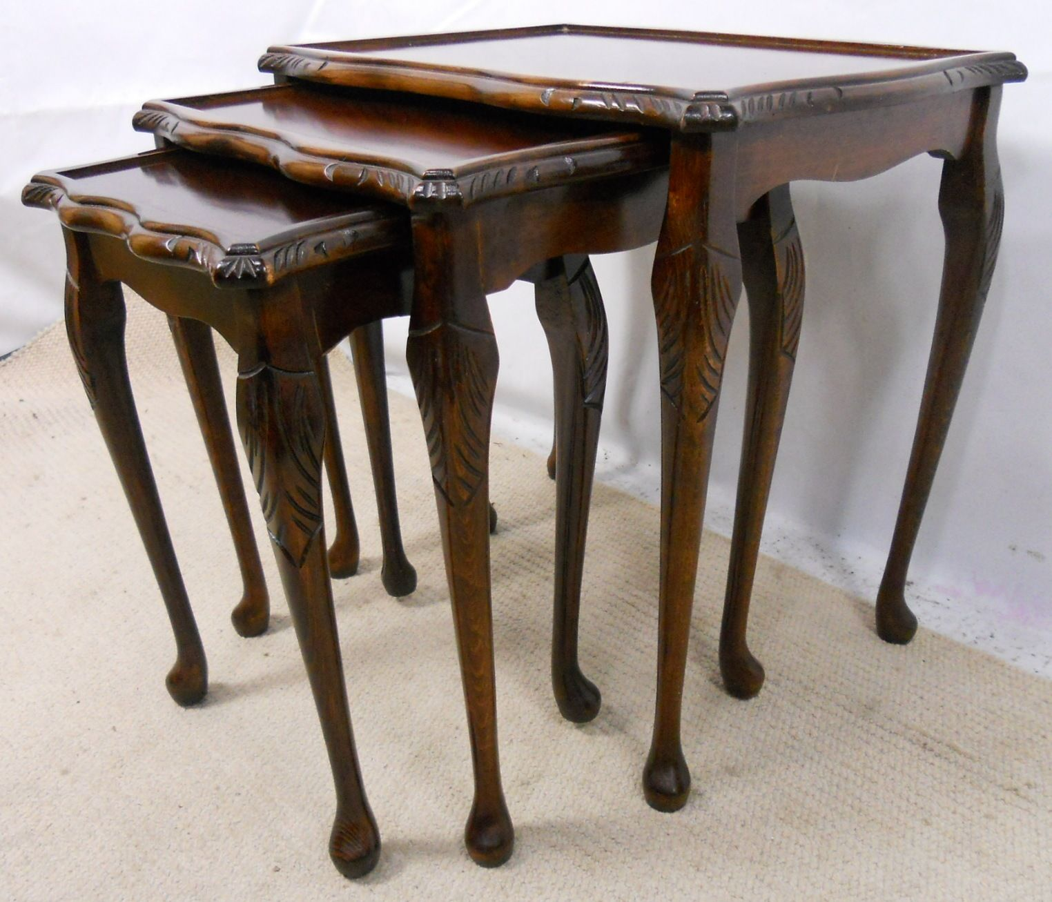 Nest of Three Queen Anne Style Coffee Tables SOLD